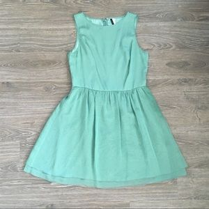 Nordstrom's Flowy Green Kensie Dress with Tulle